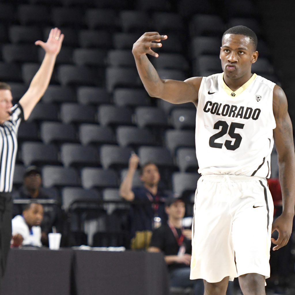 LYNCHBURG, VA - NOVEMBER 17:  McKinley Wright IV #25 of the Colorado Buffaloes celebrates hitting a game winning shot during quarterfinal of the Paradise Jam college basketball tournament against the Quinnipiac Bobcats at The Vines Center on November 17, 2017 in Lynchburg, Virginia.  (Photo by Mitchell Layton/Getty Images)